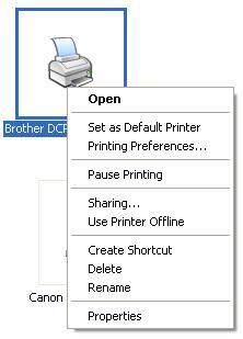Membuka Sharing Printer Properties